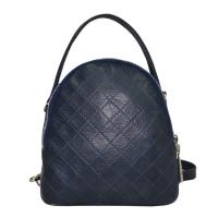 dc300b903a58 Сумка-рюкзак Vera Pelle 2297 кожаная женская темно-синяя стеганая