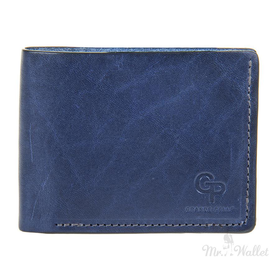 d92a7b684897 ᐉ Мужской кожаный кошелек темно-синий Grande Pelle 505570 купить в ...