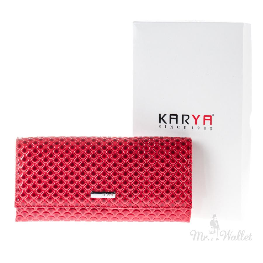 044d01dc48c7 Кошелек Karya 1101-122 кожаный красный лаковый с тиснением женский