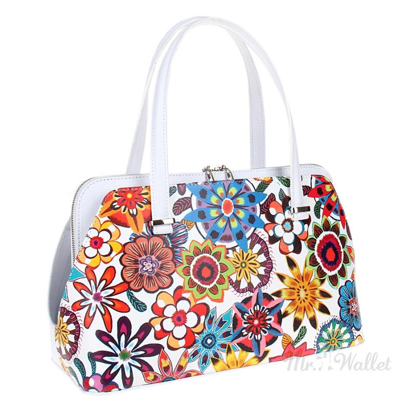 ad9be90abb03 ᐉ Кожаная сумка женская белая с разноцветным принтом Assa 998-2 ...