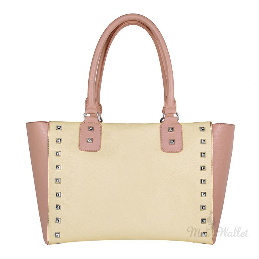 Кожаная сумка женская кремовая с розовым Katerina Fox KF151 21ef62537c6