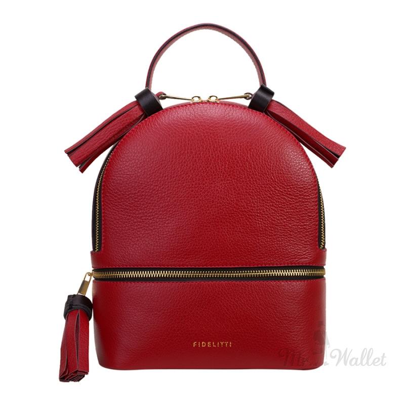 29d22007d044 ᐉ Кожаный женский рюкзак цвет красный гранат Fidelitti 057/6053/Lu ...