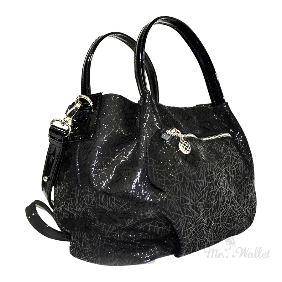 9179d99f4239 Замшевая сумка женская черная с лазерным напылением и лаковыми вставками  Lazurite 1733-5-574