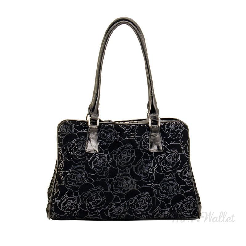 4ea2acc2507e ᐉ Замшевая сумка женская черная с цветочным декором Diamond 1231 ...