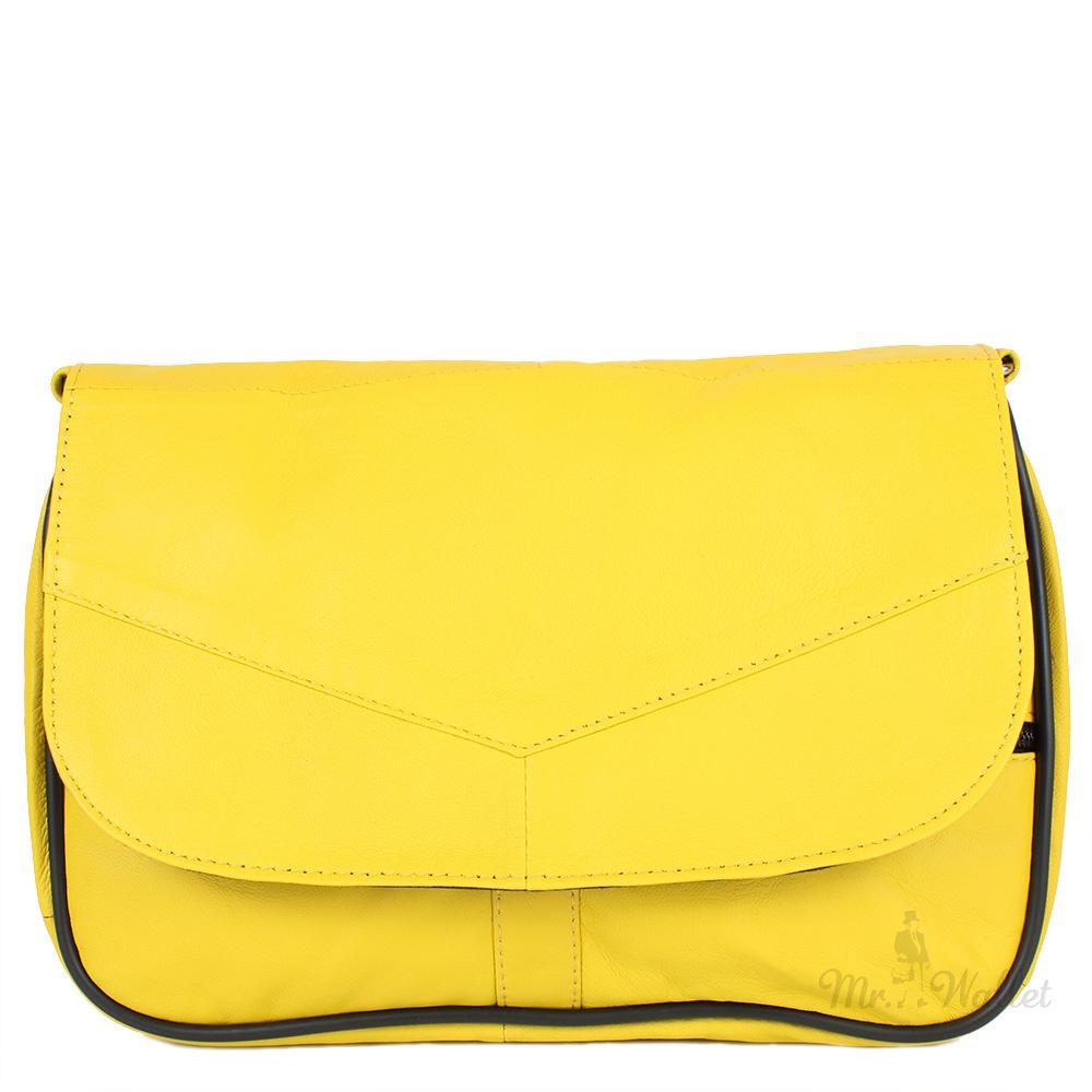 320ac3906f12 Маленькая женская сумка кросс-боди Yunona 2409-3-1 кожаная ярко-желтая