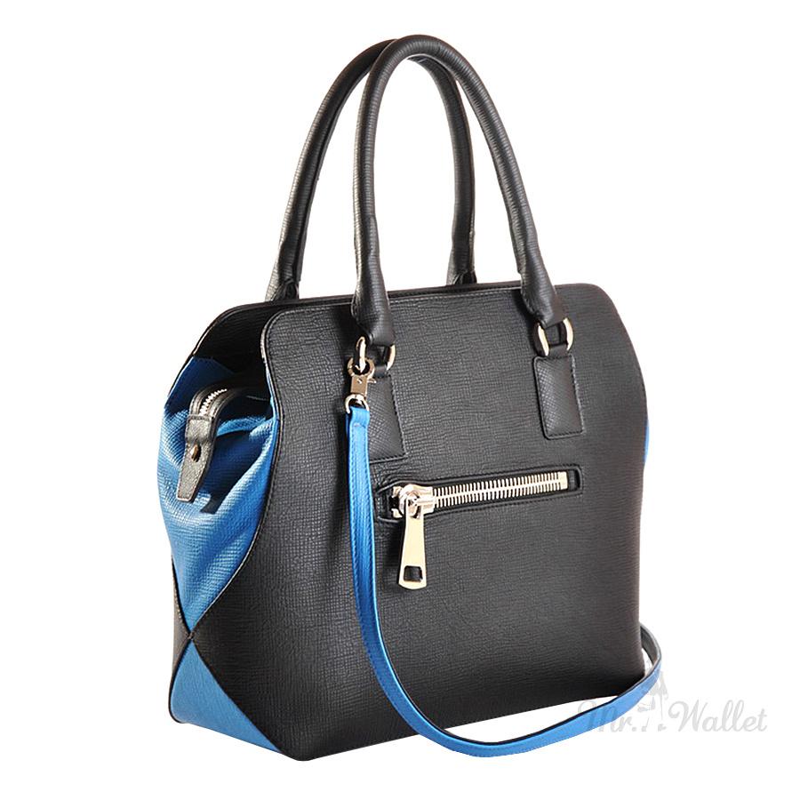 7042e4318298 Кожаная женская сумка черная с голубым Venison 593