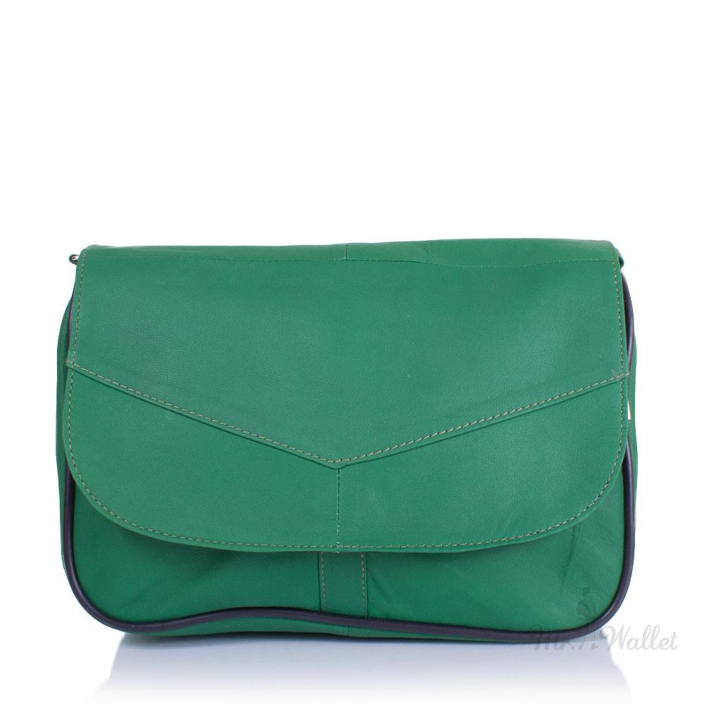 68fd47594009 ᐉ Маленькая женская сумка кросс-боди Yunona 2409-4 кожаная зелёная ...