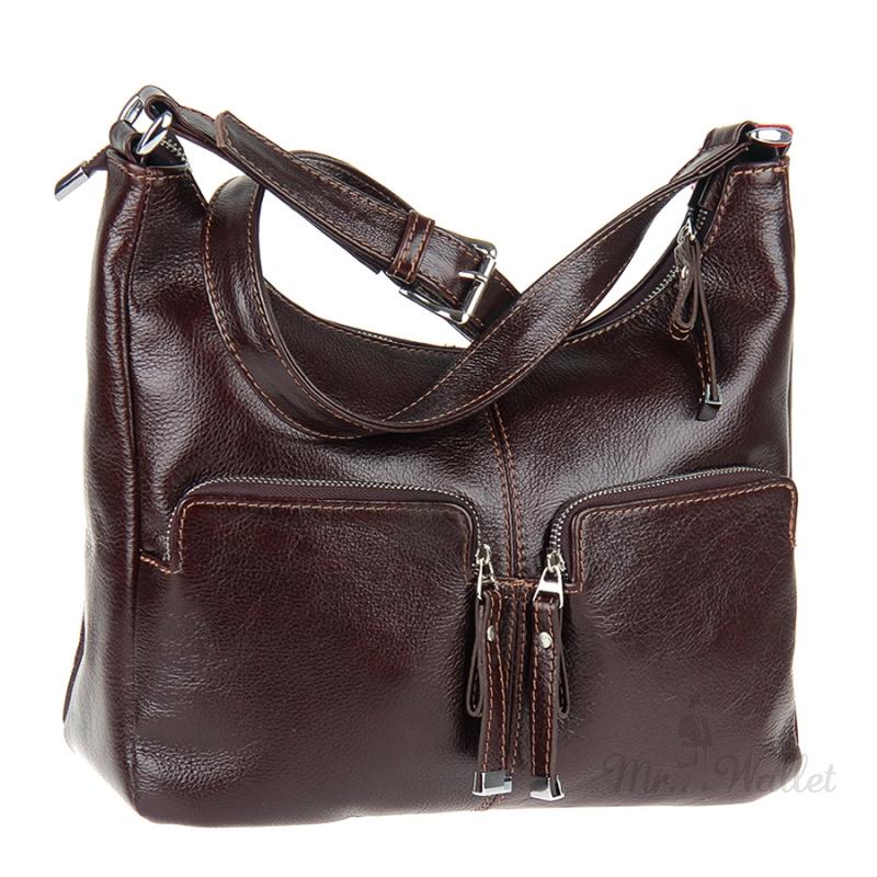cb08f373e431 ᐉ Кожаная сумка женская коричневого цвета Viva 1643160 купить в ...