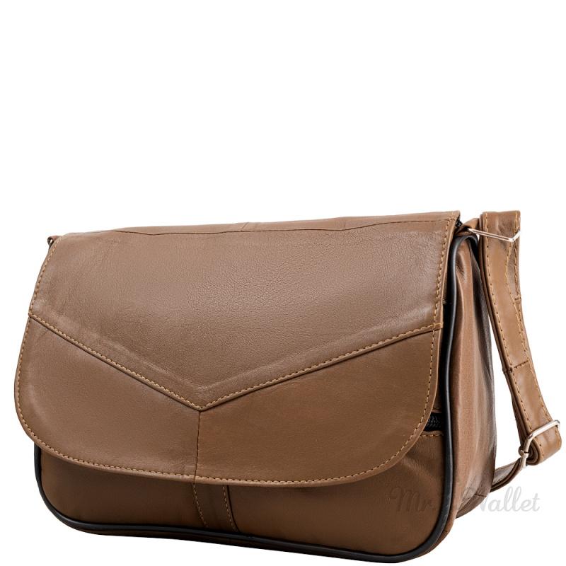 ecdf740d53f3 Маленькая женская сумка кросс-боди Yunona 2409-35 кожаная коричневая