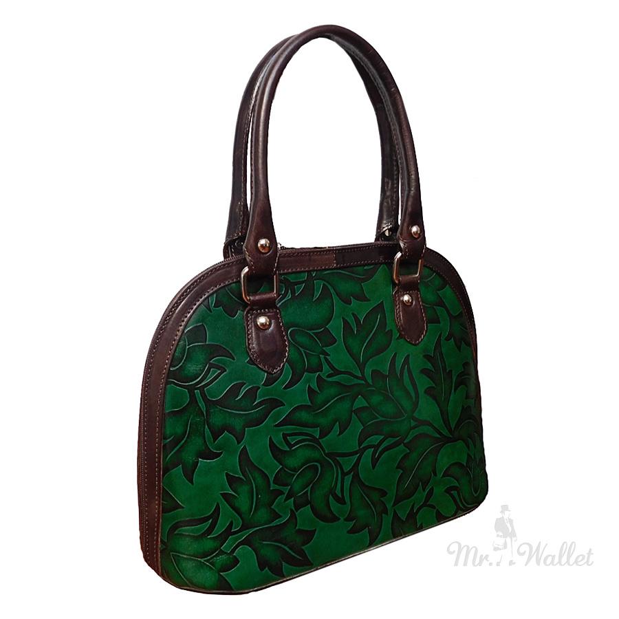 0d891d477673 ᐉ Сумка Bottega Carele BC132 2 кожаная зеленая с тиснением купить в ...