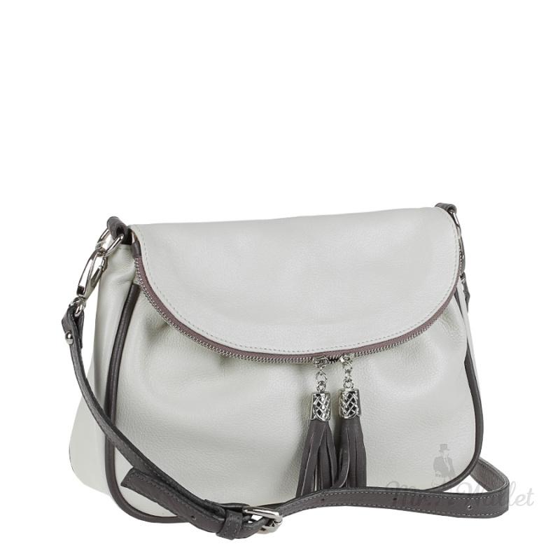4740d1691b5f Кожаная женская сумка на плечо бежевая с вставками цвета тауп Assa 834-3