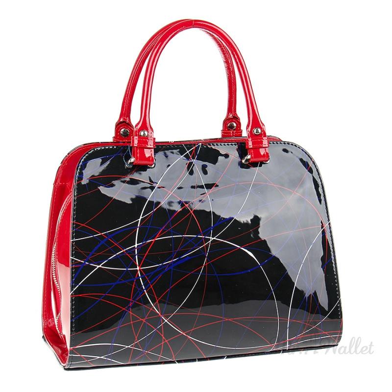 cf8db4c3 ᐉ Кожаная сумка женская лаковая красно-черная с узором Assa 988-1 ...