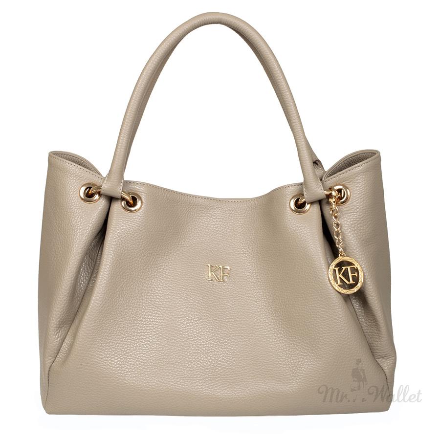 19f65f54188b ᐉ Кожаная сумка женская серо-бежевая Katerina Fox KF701 купить в ...