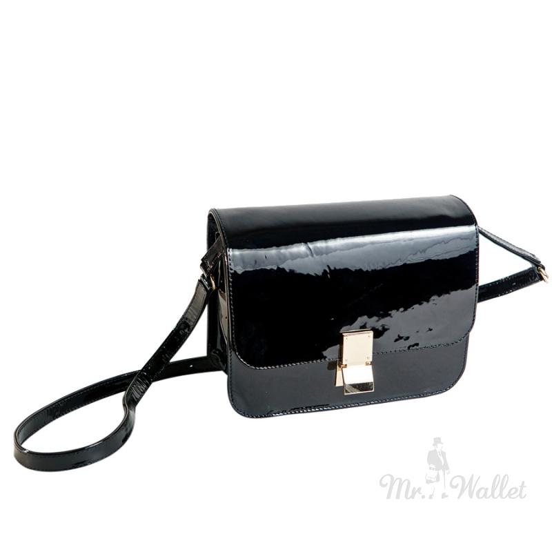 08bccf6a5041 ᐉ Кожаная лакированная сумка через плечо женская черная Venison 397 ...