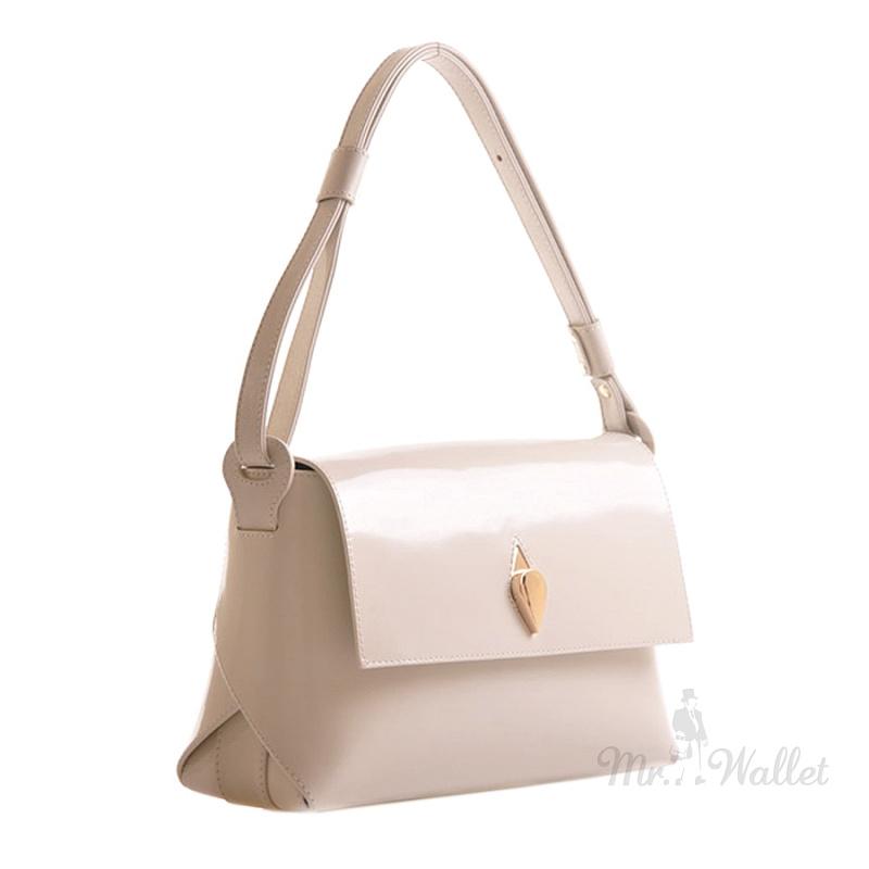 ee6819ac0ba0 Кожаная небольшая женская сумка белая Venison 618-б