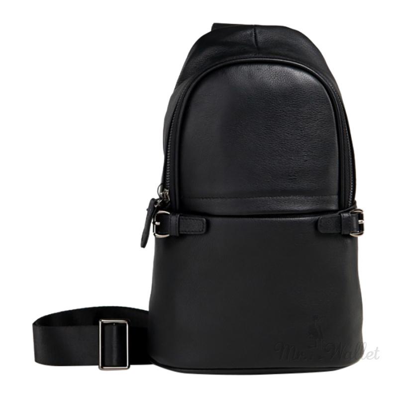 ef42452274f0 Рюкзак на одно плечо Tiding Bag M856-1A кожаный черный мужской