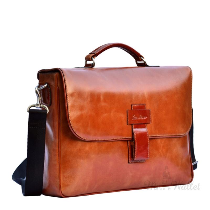 c56e3f30f546 ᐉ Сумка-портфель Issa hara B20 (04-00) кожаная рыжая мужская купить ...