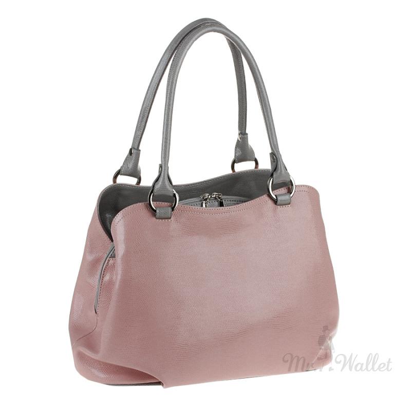 b6d57b607dff ᐉ Кожаная сумка женская пудровая