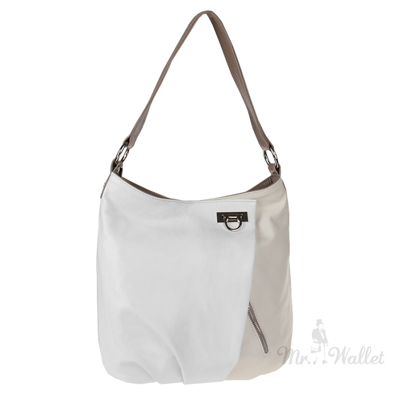 ef59758cf169 ᐉ Кожаная сумка женская белая с молочным Lazurite 476-22 купить в ...