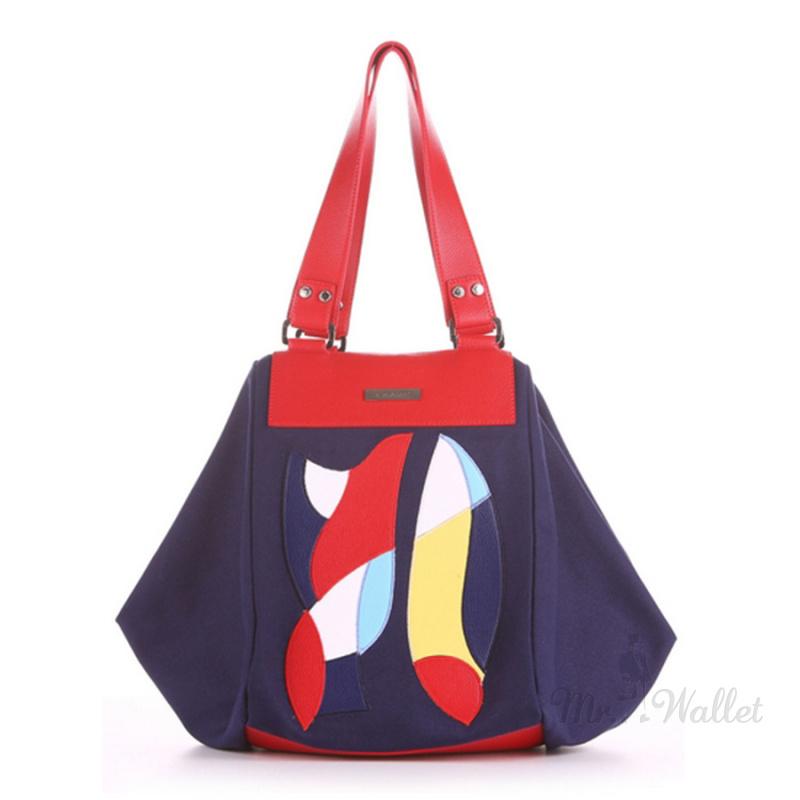 2a4f38453a95 Сумка-трапеция женская Alba Soboni 190041 синяя с абстрактным орнаментом