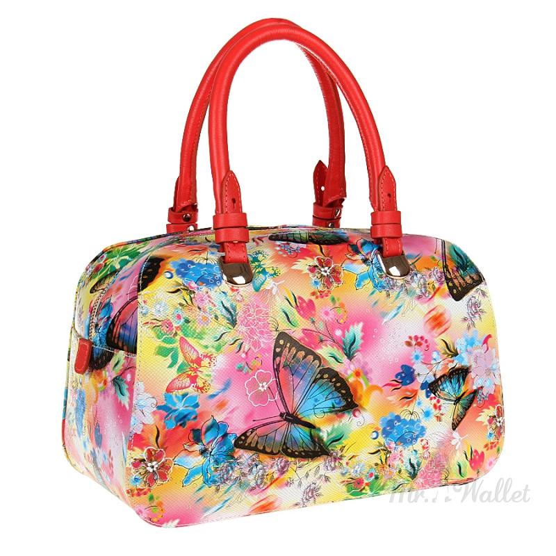 052f3a43bfb8 Кожаная женская сумка разноцветная с принтом