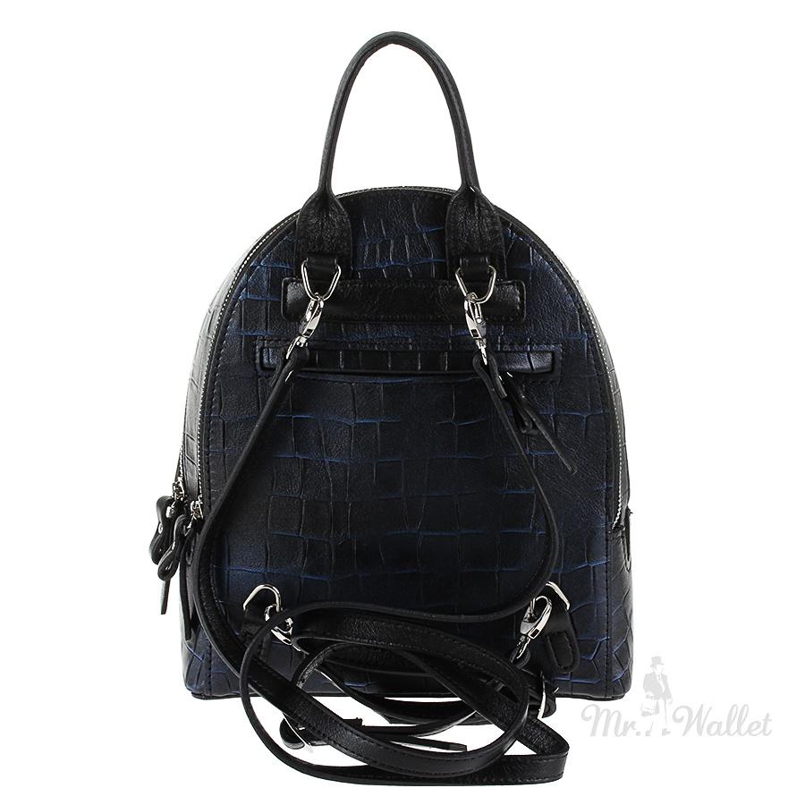 Рюкзак Diamond 1621-3 кожаный синий металлик