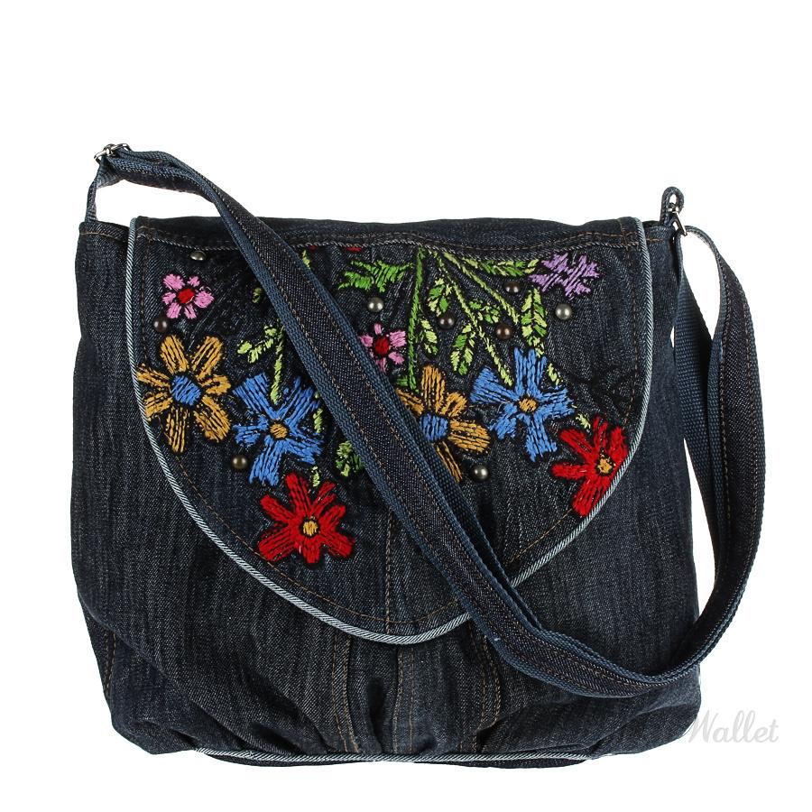 5b938b671993 Джинсовая сумка женская темно-синяя с аппликацией Jeans Fan Club