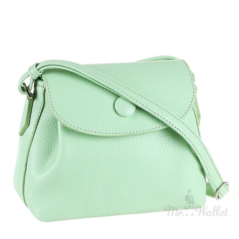 f88510e71be7 ᐉ Кожаная сумка на плечо женская светло-салатовая Viva 1680015 ...