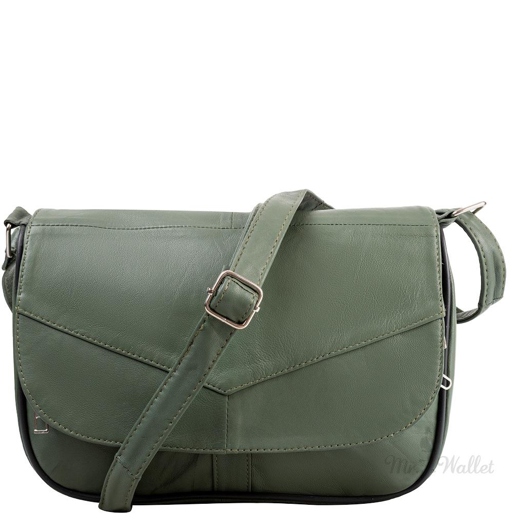 3e472e04d902 ᐉ Маленькая женская сумка кросс-боди Yunona 2409-34 кожаная хаки ...