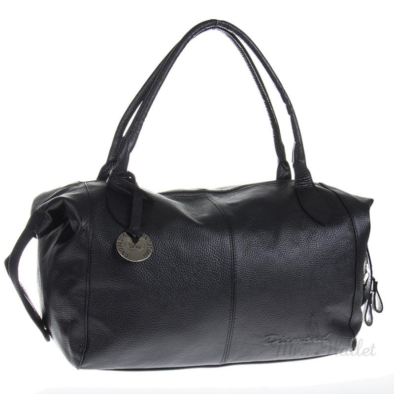 70ef596c7429 ᐉ Большая женская кожаная сумка черная Diamond 1365-1 купить в ...