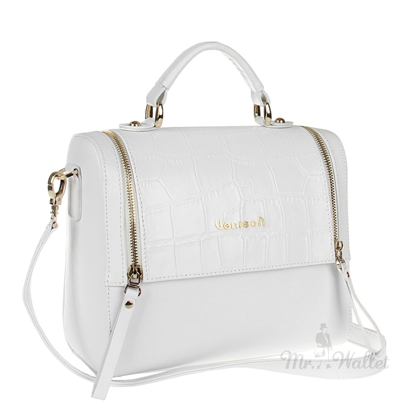 ea37e5353aa2 Кожаная сумка-бокс белая со вставкой