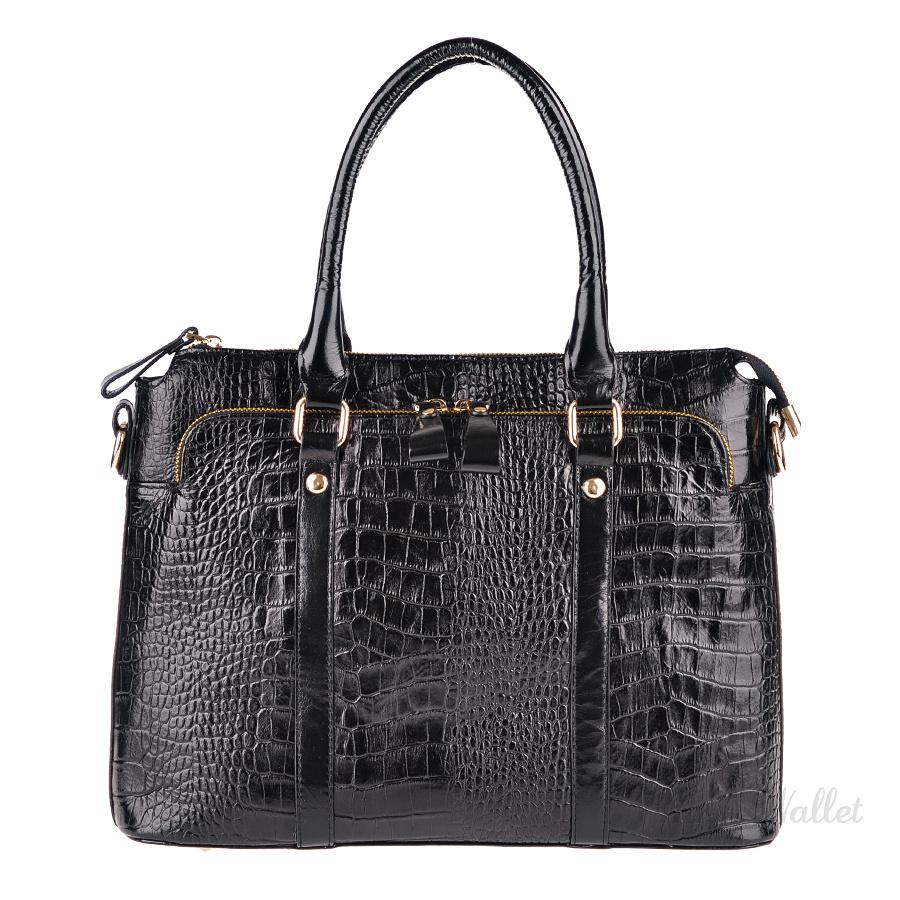 66913e170247 Женская деловая сумка-портфель кожаная черная