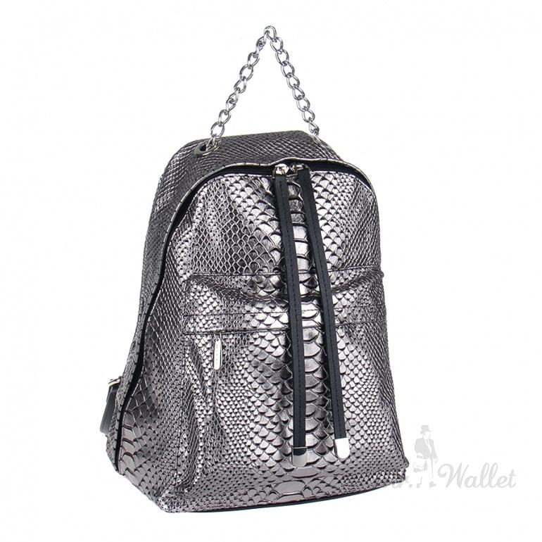 8e3667d681cf ᐉ Кожаный рюкзак женский черный с серебром