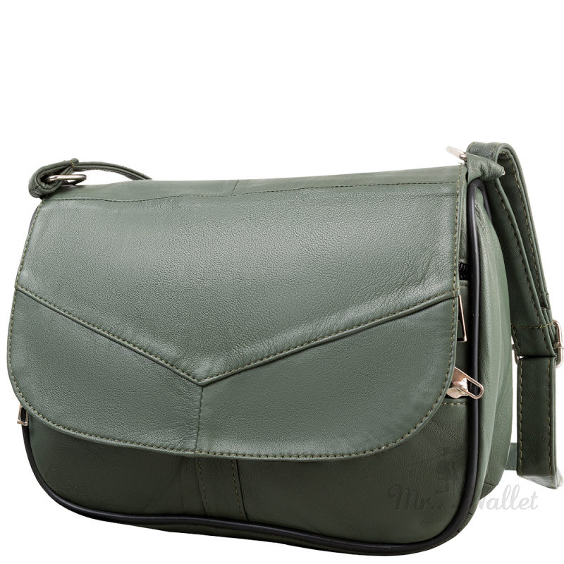 aae5adba5ad5 ᐉ Маленькая женская сумка кросс-боди Yunona 2409-34 кожаная хаки ...