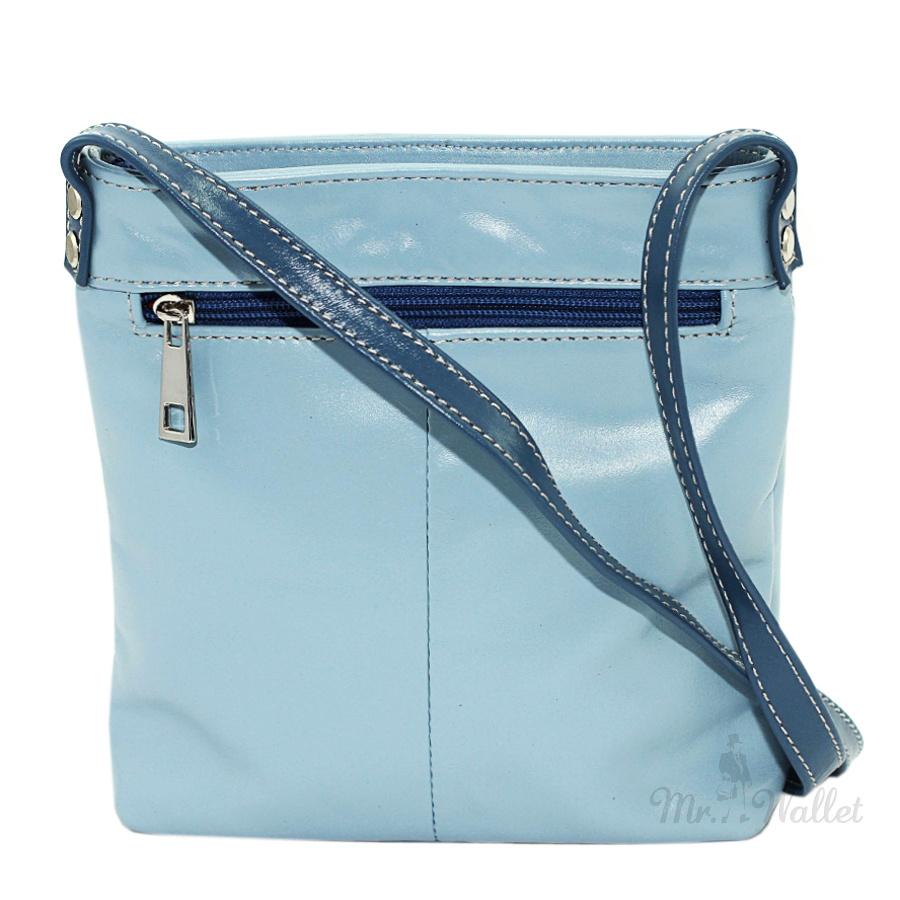 f9ebd5ecf401 Кожаная женская сумка на плечо голубая с синими вставками Vatto Wk13 N7,2