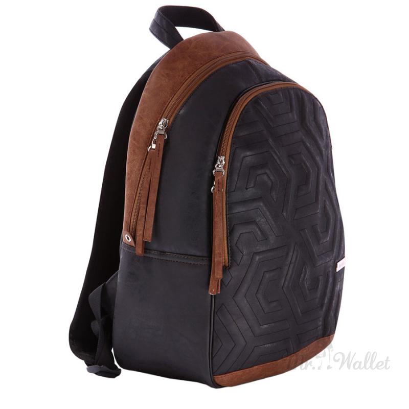 Рюкзак Alba Soboni 171601 из эко-кожи черный с коричневым