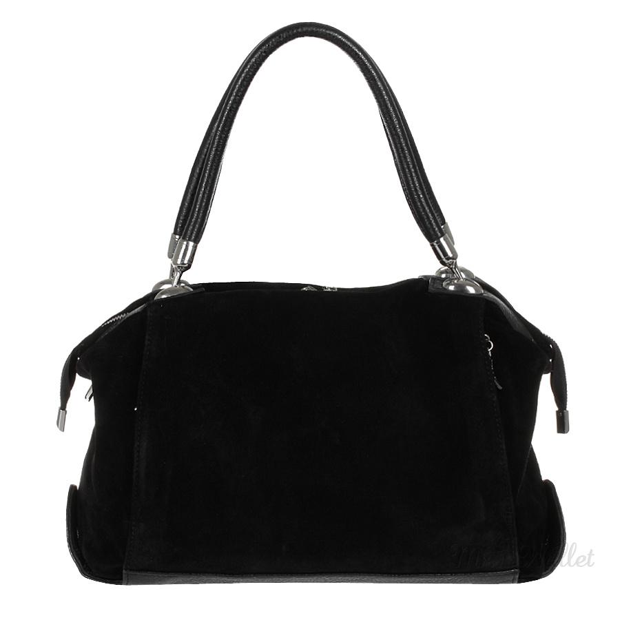 66ccd48c8e42 ᐉ Кожаная женская замшевая сумка черная Assa 1028 купить в Киеве ...