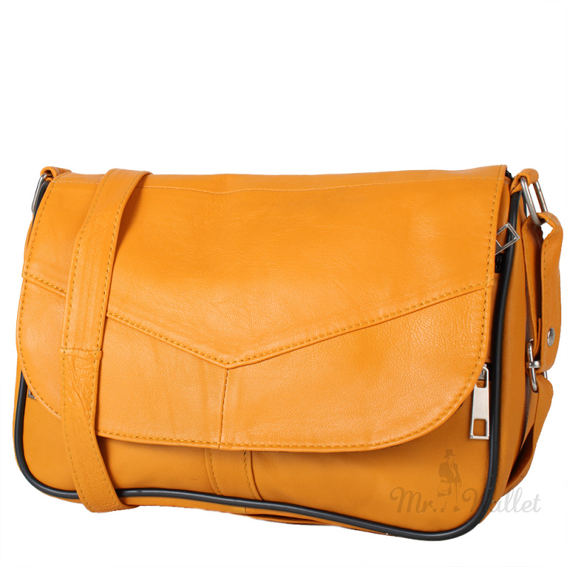 a42c138de1e7 ᐉ Маленькая женская сумка кросс-боди Yunona 2409-8 кожаная желтая ...