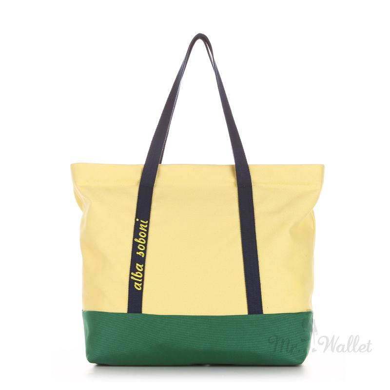 34da2ef16bf3 ᐉ Сумка Alba Soboni 190441 тканевая желто-зеленая пляжная купить в ...