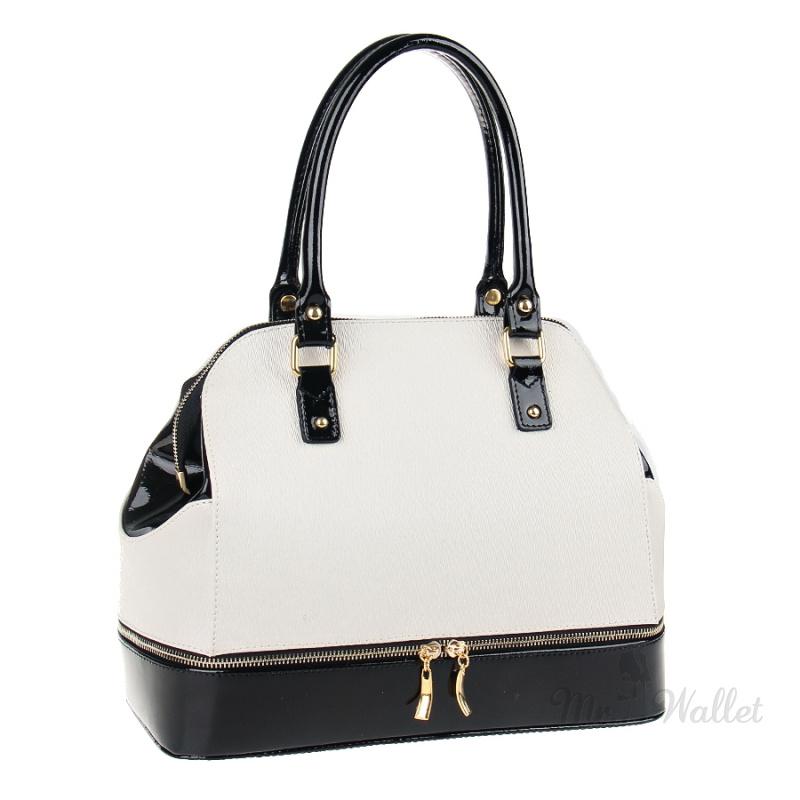 ca0cb35b4a70 ᐉ Кожаная сумка женская черно-белая Assa 927 купить в Киеве ...