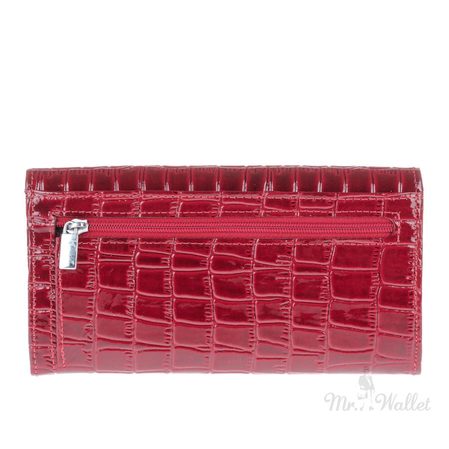 65a9701271a1 Кошелек Karya 1061-08 кожаный темно-красный лаковый с тиснением