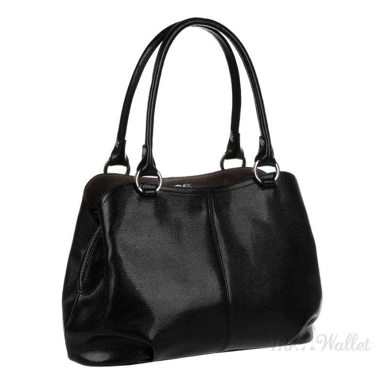 4a6ae959a388 ᐉ Кожаная сумка женская черная с зернистой фактурой Assa 692-зр ...