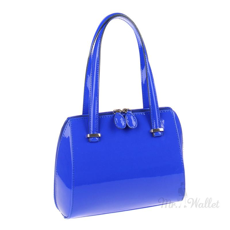 14f09b4fa316 ᐉ Лаковая сумка женская кожаная синяя Assa 875/м-10 купить в Киеве ...