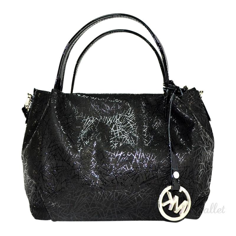 a5aa300f8a4a Замшевая сумка женская черная с лазерным напылением и лаковыми вставками  Lazurite 1733-5-574