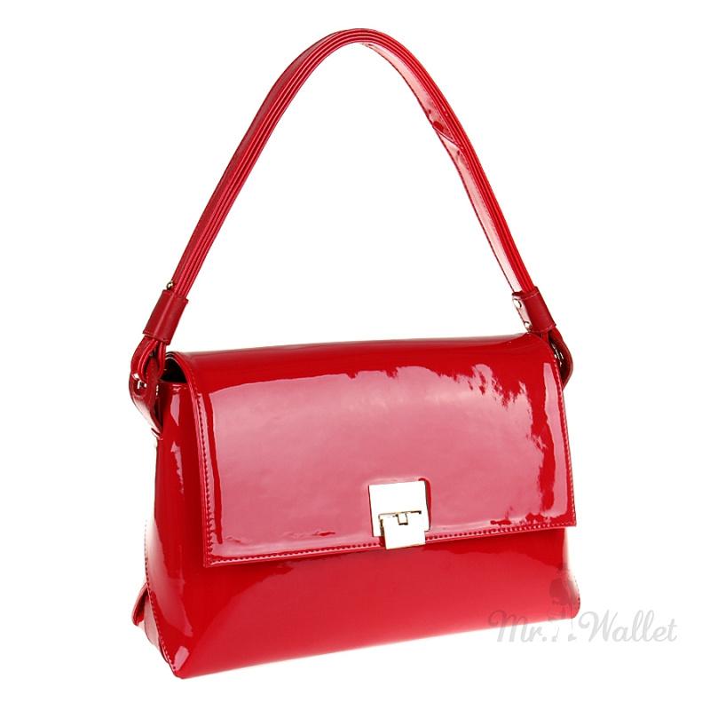84e1dc0a5f35 Небольшая женская сумка из экокожи лаковая красная Venison 618-эко-кр