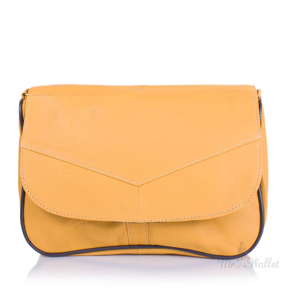 1352c92c88db ᐉ Маленькая женская сумка кросс-боди Yunona 2409-3 кожаная желтая ...