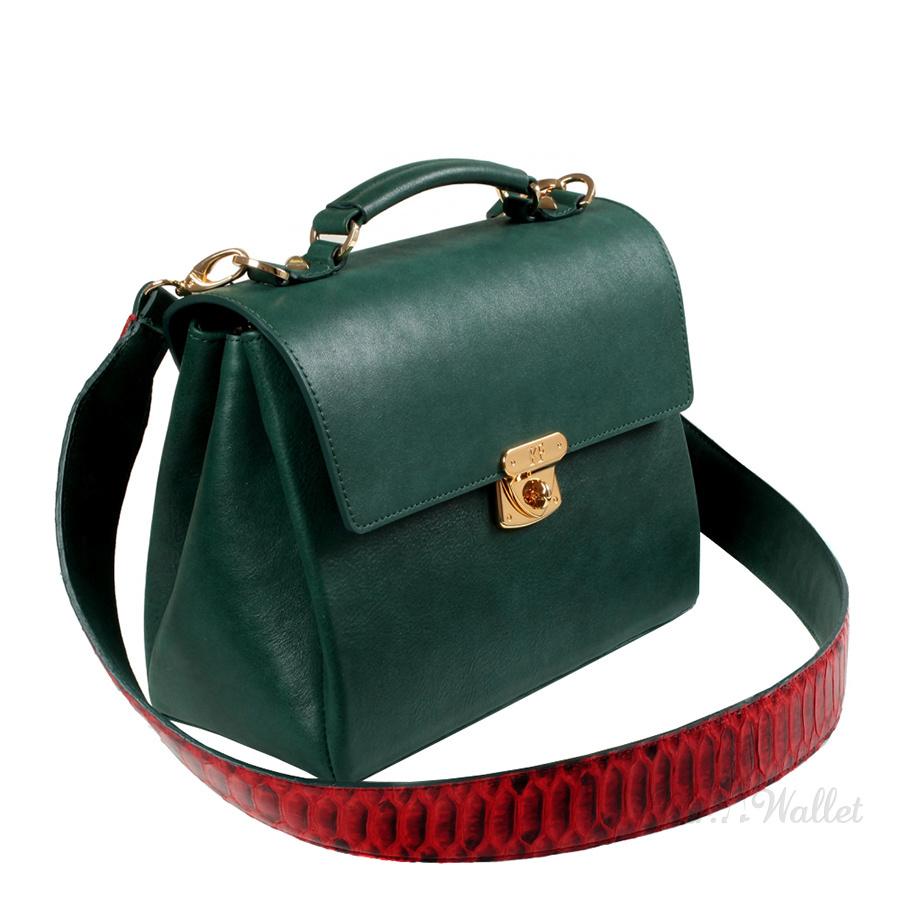 47015a1ee54d ᐉ Кожаная сумка женская темно-зеленая Katerina Fox KF747 купить в ...