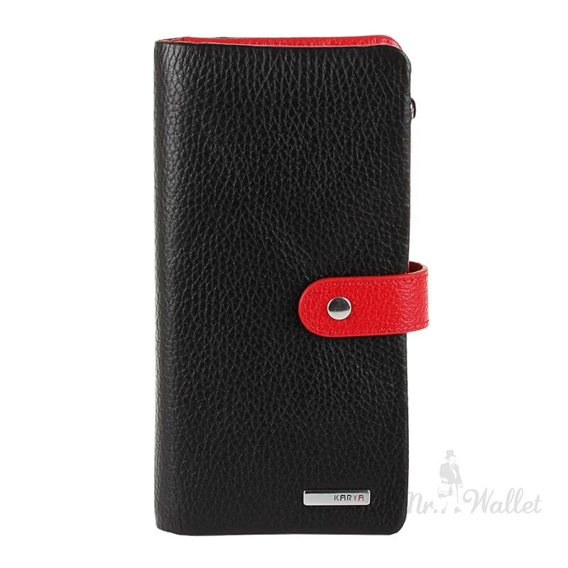 55a2c26378d5 ᐉ Кошелек Karya 1135-45/1 кожаный черный с красным женский купить в ...