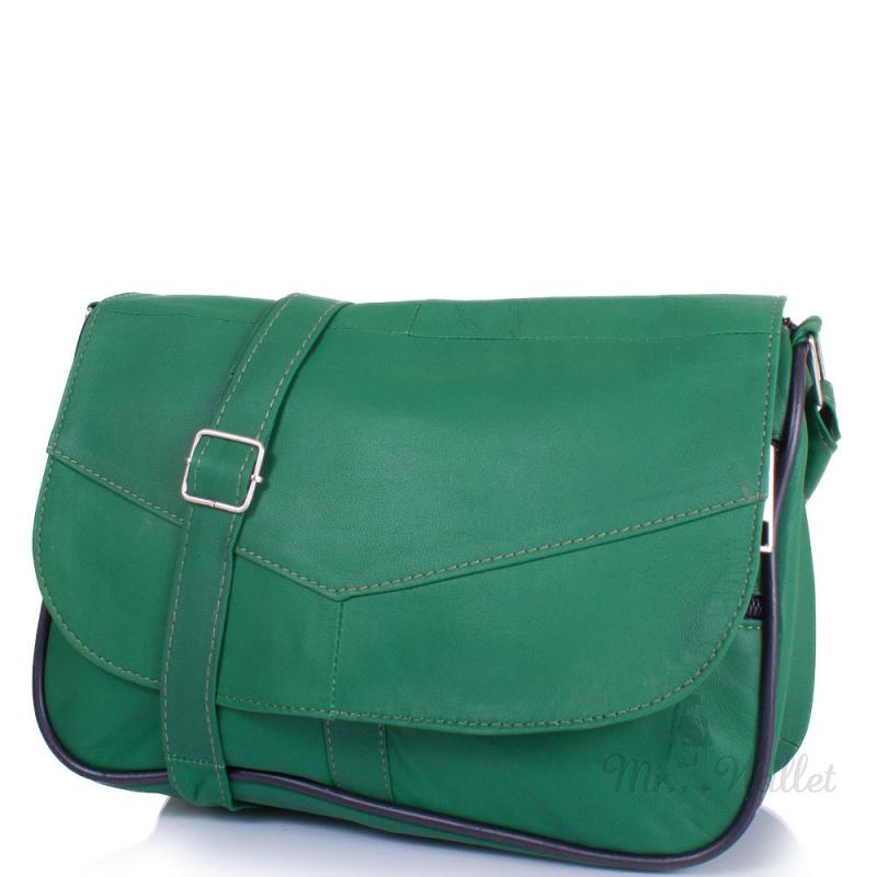 d60103819e71 ᐉ Маленькая женская сумка кросс-боди Yunona 2409-4 кожаная зелёная ...