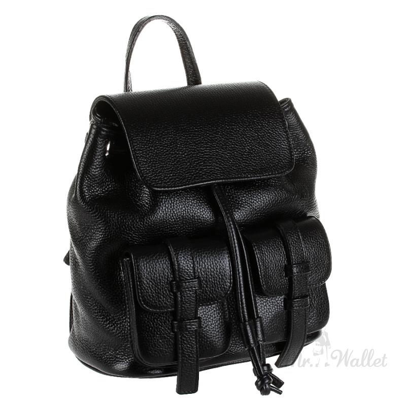 b8752765df55 ᐉ Рюкзак Assa 1118 кожаный черный женский городской купить в Киеве ...